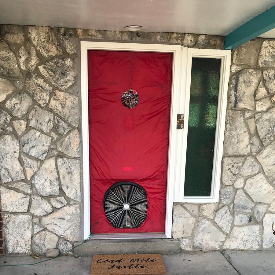 Red door with blow vent